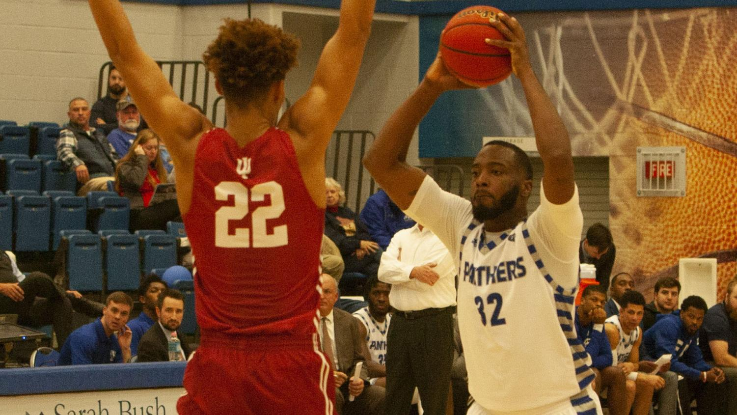 Eastern forward JaQualis Matlock looks to pass the ball inside from the top of the key against Indiana Northwest on Nov. 18 in Lantz Arena. Matlock had six points, four rebounds and two blocks in the Panthers' 114-61 win.