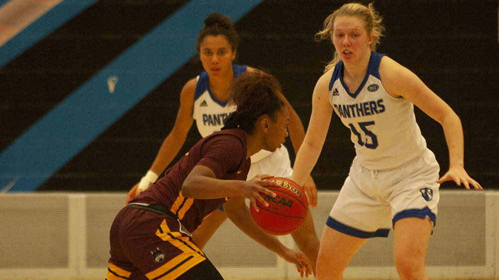 Eastern guard Taylor Steele (15) guards a Loyola-Chicago player in the Panthers' 67-51 loss to the Ramblers Nov. 13 in Lantz Arena. Steele had seven points and two rebounds in the game.