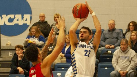 Eastern guard Josiah Wallace shoots a jumper from the baseline against Southeast Missouri Jan. 25 in Lantz Arena. Wallace scored 11 points and the Panthers won the game 61-59.