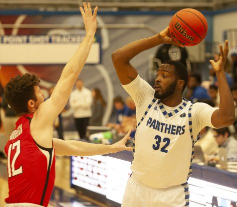 Forward JaQualis Matlock looks to pass the ball in Eastern's 61-59 win against Southeast Missouri on Jan. 25 at Lantz Arena.