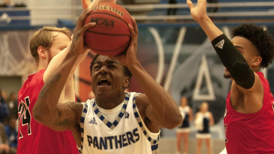 Eastern forward Jordan Skipper-Brown goes up for a layup against Jacksonville State Jan. 16 in Lantz Arena. Eastern won the game 70-69 for their first conference win of the season.