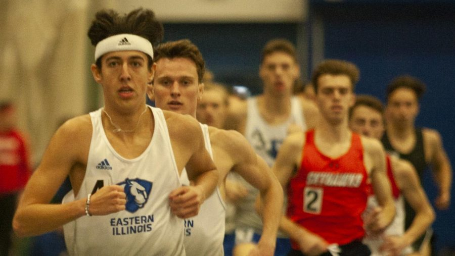 Eastern freshman Adam Swanson participates in an event in the EIU John Craft Invite Jan. 18 in the Lantz Field House. Both the men's and women's track and field teams placed first in the meet.