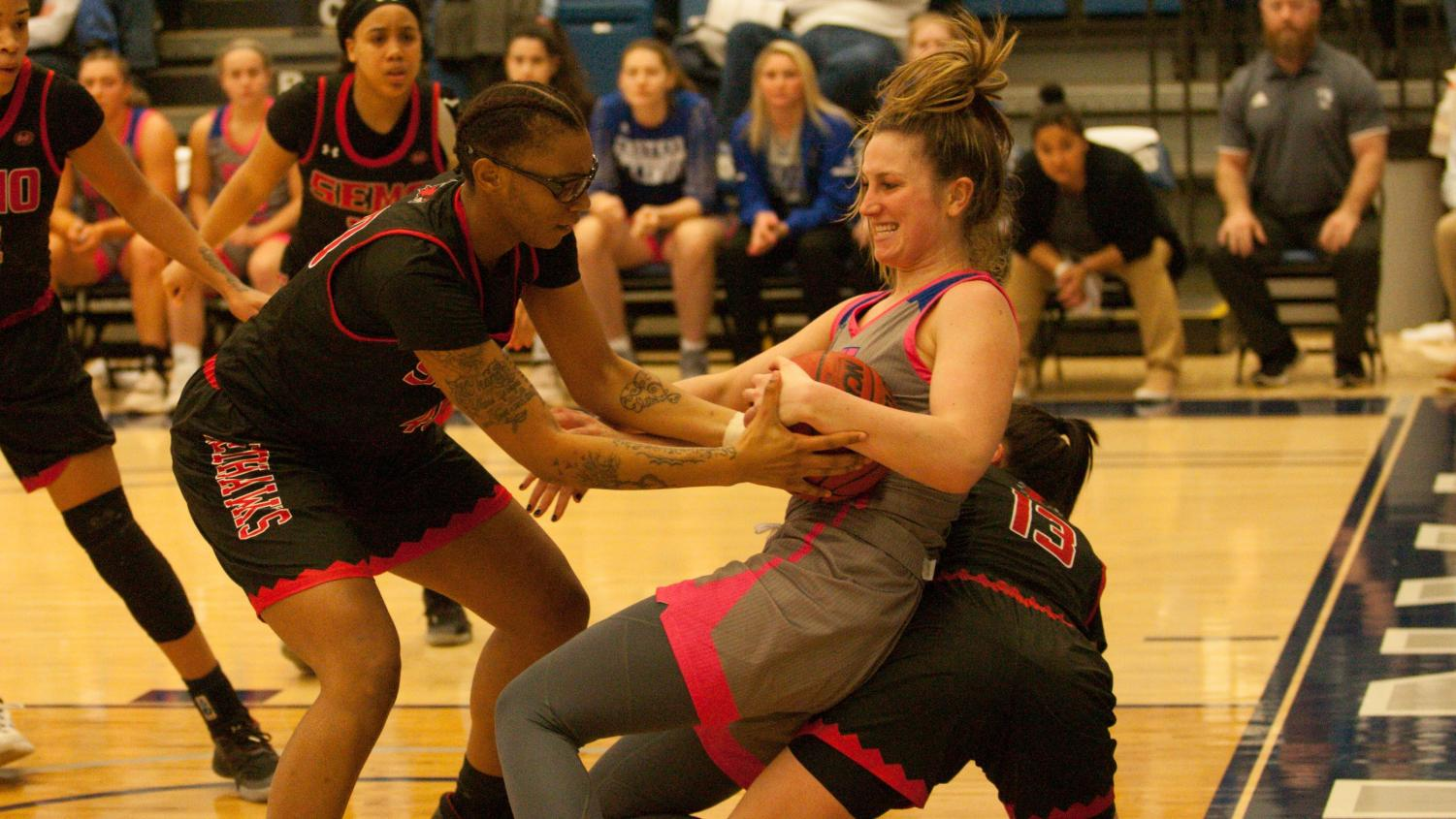 Eastern forward Abby Wahl fights for a ball in the Panthers 77-65 loss to Southeast Missouri Saturday in Lantz Arena.