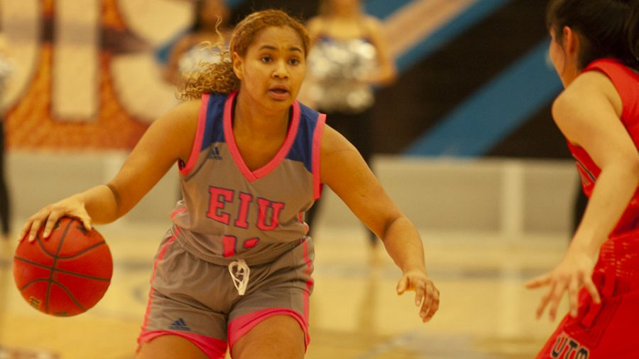 Eastern guard Karle Pace brings the ball up the court against Tennessee-Martin Jan. 23 in Lantz Arena. Pace had 12 points and nine assists in the game, which the Panthers won 74-70.