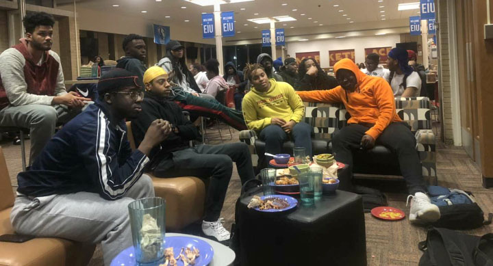 Students gather around a T.V in the Thomas Hall Dinning Center to watch the Superbowl on Sunday night. The Kansas City Chiefs won the game 31-20.