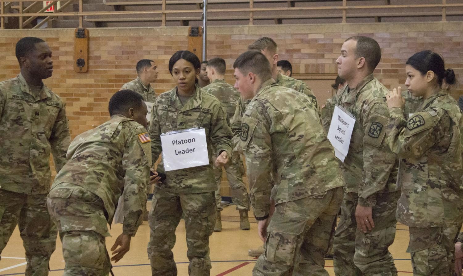 Eastern's Army ROTC takes place in McAfee Gym on Thursday evening. Students prepare and get ready to go over their operation plan for Military Science lab.