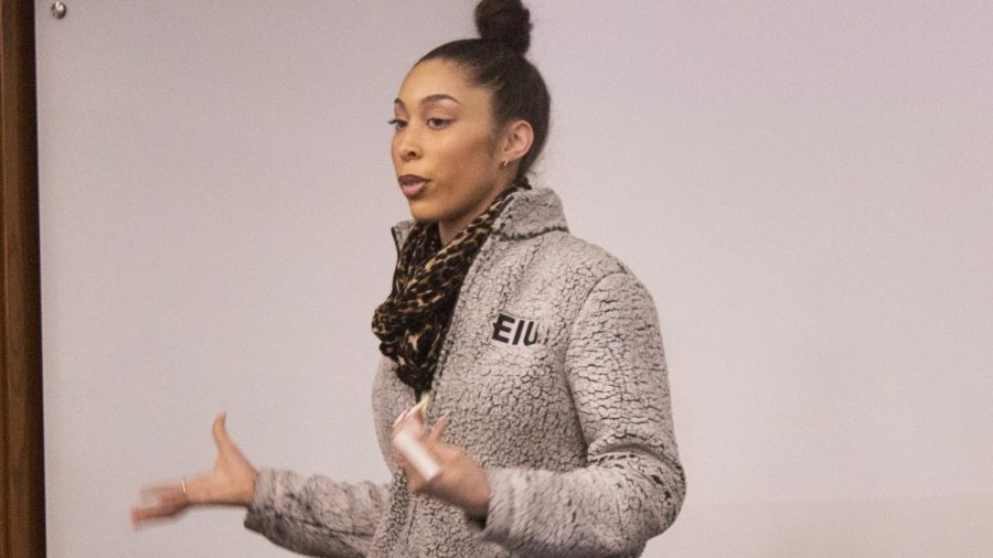 """Brittany Britton, a junior sociology major, discusses student's racial experiences on campus and in Charleston during the BSU event, """"Speak Your Piece,"""" in the Lumpkin Auditorium on Tuesday night. During the presentation, many students shared their experiences with racial discrimination and prejudice."""