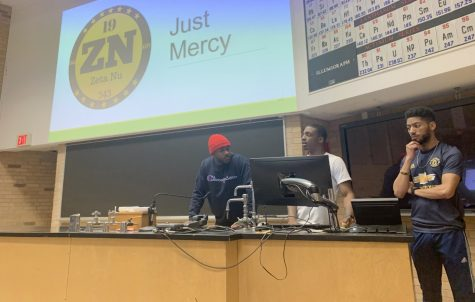 Kortney Lucius (left), a junior pre-med biology major, David Hagler (middle), a senior business management major, and Joshua Ware (right), a senior applied engineering technology major, present Just Mercy: Discussion About Wrongful Arrest Thursday at the Phipps Auditorium in the Physical Science building. The purpose of the Just Mercy theme in general is about the incarceration of Latino and black individuals ­— specifically, how it has been affecting them for too long.