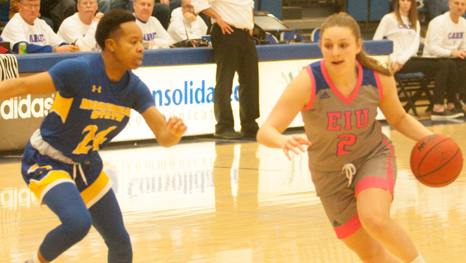 Eastern guard Jordyn Hughes drives on a defender against Morehead State on Feb. 8 in Lantz Arena. The Panthers won the game 67-62 in overtime and Hughes recorded seven points.
