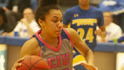 Dillan Schorfheide | The Daily Eastern News Lariah Washington charges toward the basket during a fast break in Eastern's 67-62 victory over Morehead State Feb. 8 in Lantz Arena. Eastern faces Murray State Thursday in Lantz Arena at 5:15 p.m.