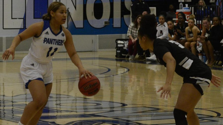 Eastern guard Karle Pace advances the ball against Austin Peay Feb. 22 in Lantz Arena. Pace had 19 points in a 73-72 win for the Panthers.