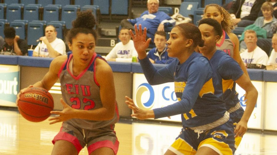 Eastern freshman Lariah Washington drives into the lane against Morehead State on Feb. 8 in Lantz Arena. Washington had 11 points, three rebounds and three steals in the game, which Eastern won 67-62 in overtime.