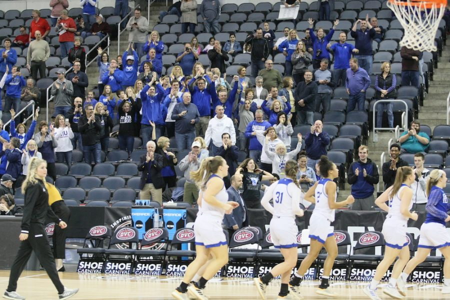 Dillan Schorfheide | The Daily Eastern News Easterns fan section at the OVC Tournament cheers on the womens basketball team as the Panthers leave the court. Eastern defeated Jacksonville State 49-46, its first tournament win since 2010.