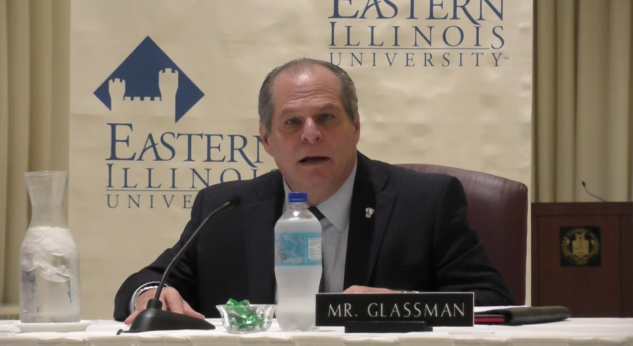 Eastern+President+David+Glassman+talks+during+an+emergency+Board+of+Trustees+meeting+on+Thursday+in+the+University+Ballroom+of+the+Martin+Luther+King+Jr.+University+Union.+The+meeting+was+live+streamed+to+the+public+amid+COVID-19+concerns+and+the+photo+is+a+screenshot+of+that+livestream.