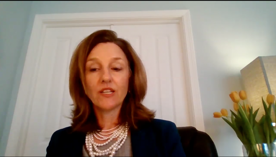 Anne Flaherty, a candidate for Easterns Vice President of student affairs position, answers a question during her live-video session with students Thursday. Flaherty is one of four candidates being considered for the position.