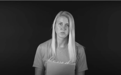 Henderlong is seen here delivering her speech about surviving an alleged sexual assault at the hands of an Eastern baseball player in 2017.