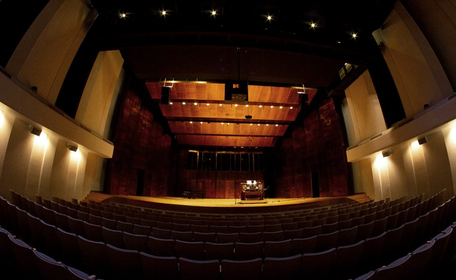 A lone student practices in the abnormally empty Dvorak Concert Hall at the Doudna Fine Arts Center. Due to the COVID-19 pandemic, performances like Composerss Forum, Missoula Childrens Theatre, Spring Bloom by the Eastern Symphony Orchestra, and a combination concert of Easterns jazz, orchestra, concert band, and symophnic band were canceled.