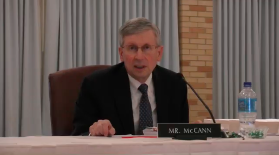 Paul McCann addresses the Board of Trustees on April 24.