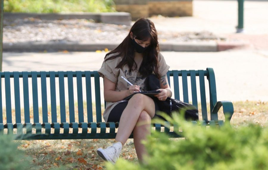 Liz Jackson, a freshman majoring in fine arts, studies outside on her tablet Monday afternoon.