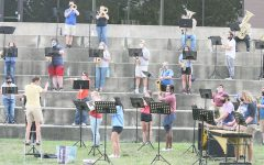 Dr. Alicia Neal (bottom left), the Director of Bands at Eastern, directs the Concert Band in a rehearsal at the Doudna Steps Thursday afternoon.