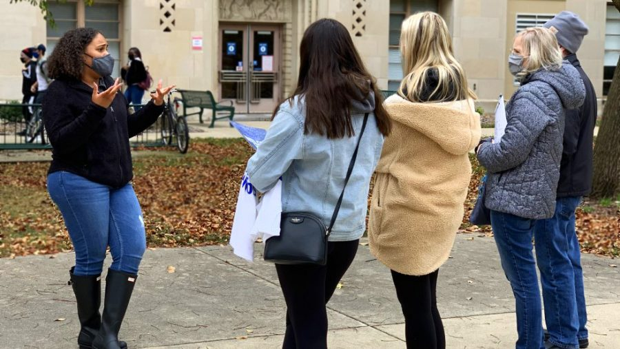 Ashley Richardson, a senior special education major, gives a tour around campus for prospective students and their families Monday afternoon.