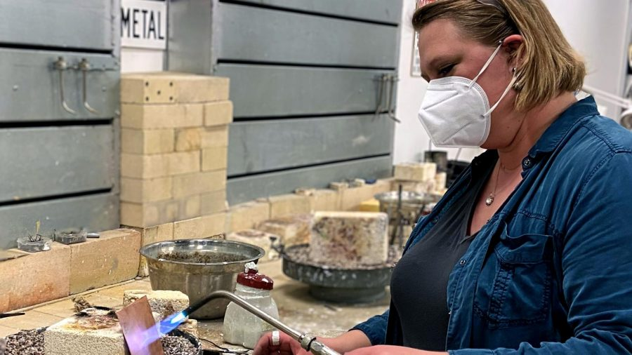 Erin Rice, a metalsmithing professor, prepares copper annealing kits for her Metalsmithing 1 class in Doudna Fine Arts Center's studio Wednesday afternoon.