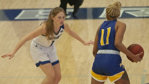 Eastern guard Kira Arthofer plays defense on the perimeter in a game against Morehead State on Jan. 14 in Lantz Arena. The Panthers won the game 65-50.
