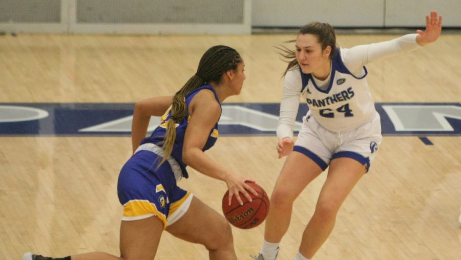 Eastern forward Morgan Litwiller guards a Morehead State player in a game against the Eagles on Jan. 14. The Panther defense forced 23 turnovers in a 65-50 win.