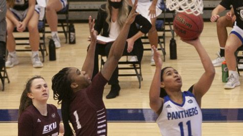 Eastern guard Karle Pace drives for a layup in a game against Eastern Kentucky on Jan. 16. Pace scored a career-high 32 points in a 73-68 win for the Panthers.
