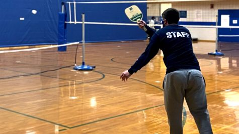 Keaton Greene, a senior majoring in physical education, wins 15-2 in his first round of the Intramural pickleball tournament in the Student Recreation Center.