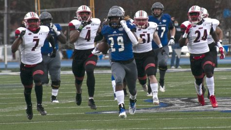 Eastern freshman running back Kendi Young breaks into the open field during a 72-yard touchdow run in the second quarter against Southeast Missouri Feb. 28. Young had 11 rushes for 88 yards and a touchdown in the game, which the Panthers lost 47-7.