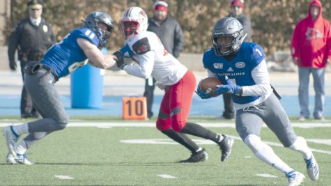 Eastern wide receiver Isaiah Hill turns upfield on a 73-yard catch and run in a game against Southeast Missouri on Nov. 16, 2019. Hill had 13 catches for 152 yards and a touchdown in the game, which Eastern lost 26-12.