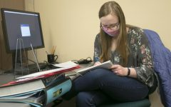 Delainey File, a math education junior, prepares for tutoring in EIU Trio's Student Support Services Tuesday evening. File tutors virtually and in person for math. File explains the experience is exciting since Files wants to be a math teacher.