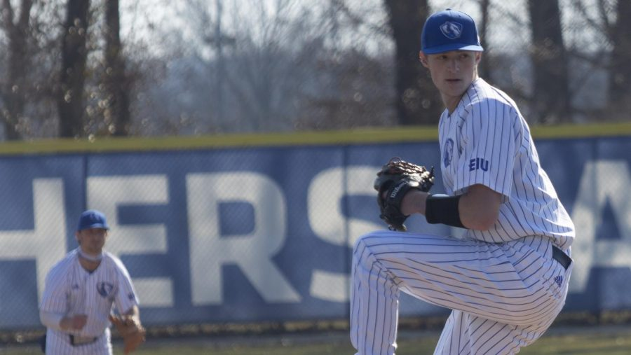 Eastern pitcher Kyle Lang winds up for a pitch against Bellarmine Tuesday at Coaches Field. Lang pitched a season-high 7 innings, allowing 6 hits and 1 run in a 8-1 Eastern win.