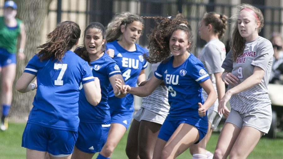 Members of the Eastern women's soccer team celebrate a penalty kick goal by senior forward Itxaso Aguero (7) that put Eastern up 1-0 against Jacksonville State on March 30 at Lakeside Field. Aguero would add another goal later on and the Panthers beat the Gamecocks 3-2.