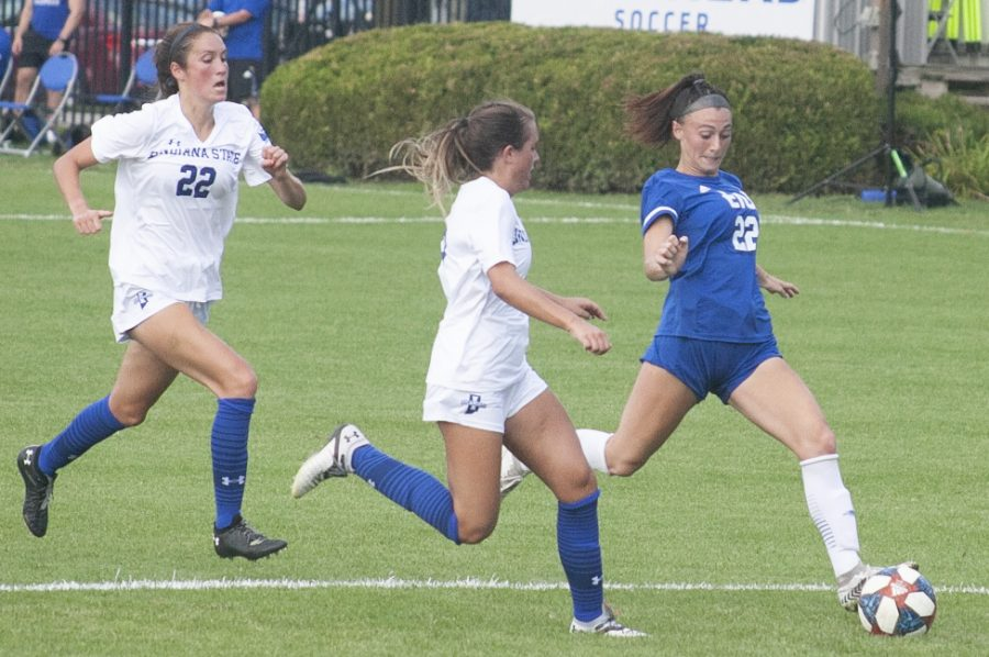 Eastern junior forward Nicoletta Anuci (right) attempts to get off a shot against Indiana State on Aug. 19 at Lakeside Field. Anuci attempted 2 shots and recorded an assist in the match, which Eastern lost 3-1.