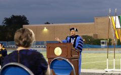 ASHANTI THOMAS | THE DIALY EASTERN NEWS University President David Glassman speaks to students and faculty at the beginning of First Night. First Night is an annual tradition welcoming students onto campus the night before classes begin.