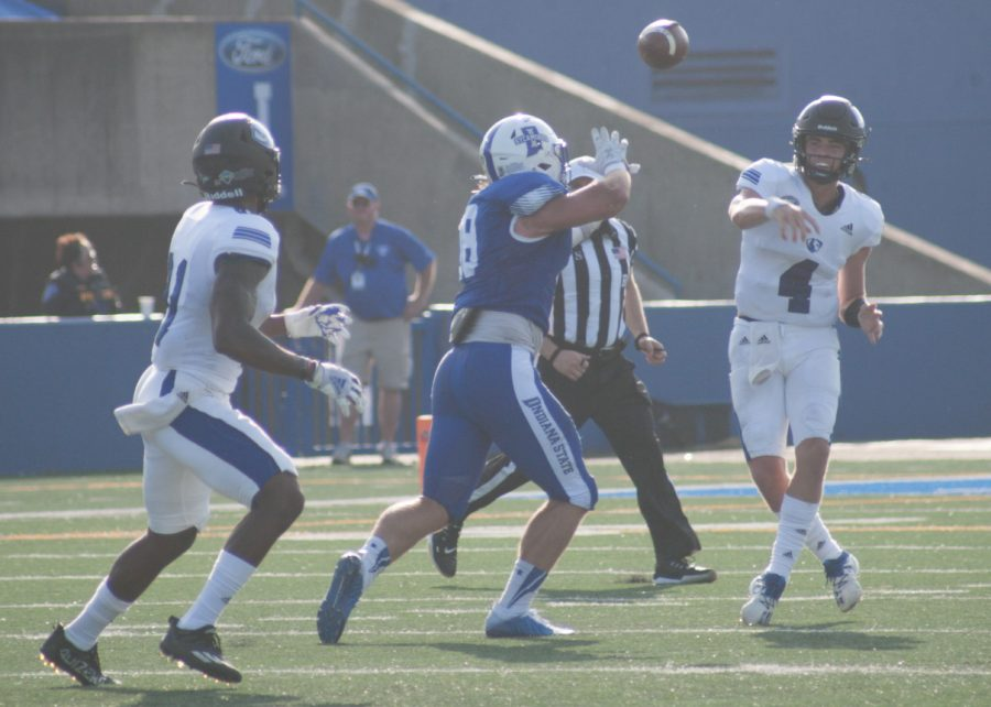Eastern quarterback Otto Kuhns releases a pass against Indiana State on Aug. 28. Kuhns was 14-of-29 passing with 2 interceptions in the game, which Eastern lost 26-21.