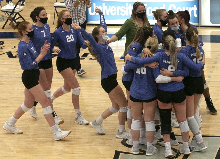 The+Eastern+volleyball+team+celebrates+after+winning+a+match+against+Tennessee+State+on+March+8%2C+2021+in+Lantz+Arena.+The+Panthers+went+2-14+in+a+conference-only+season+in+the+spring.+