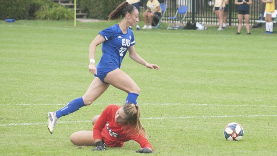 Eastern midfielder Nicoletta Anuci gets behind the opposing goalkeeper to score her second goal of the match against Illinois Springfield on Sunday at Lakeside Field. The Panthers beat the Prairie Stars 3-0 to pick up their first win of the season.