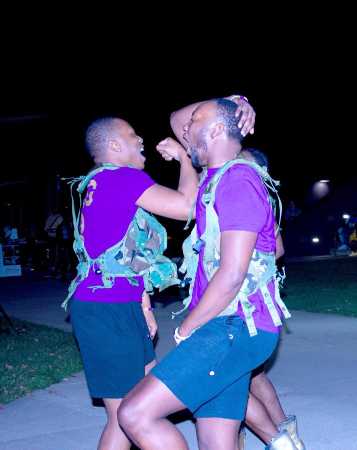 Eastern Illinois University's Omega Psi Phi Fraternity Incorporated, perform at the Meet the Greeks event held on Sept. 10, 2021.