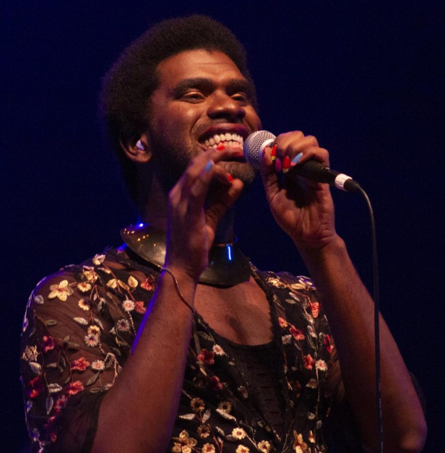 """Dynamo's lead singer Jonathan """"Jay"""" Hoard sings during Doudna Fine Arts Center's first concert of the year."""
