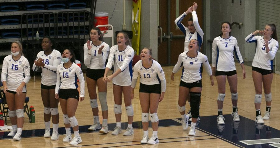 Members of the Eastern volleyball team celebrate from the bench during a match against IUPUI on Aug. 27 in Lantz Arena. The Panthers won the match 3-0. The victory was the first of a three-match winning streak for the Panthers to open the season.