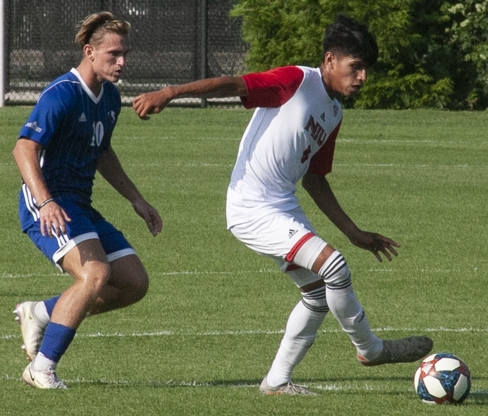 Eastern+midfielder+Nikola+Salopek+gets+into+position+defensively+agaisnt+Northern+Illinois+Sept.+7+at+Lakeside+Field.+Eastern+lost+the+match+5-1.+