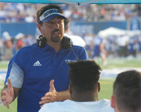 Eastern defensive coordinator addresses his defense during the Panthers 26-21 loss to Indiana State on Aug. 28.
