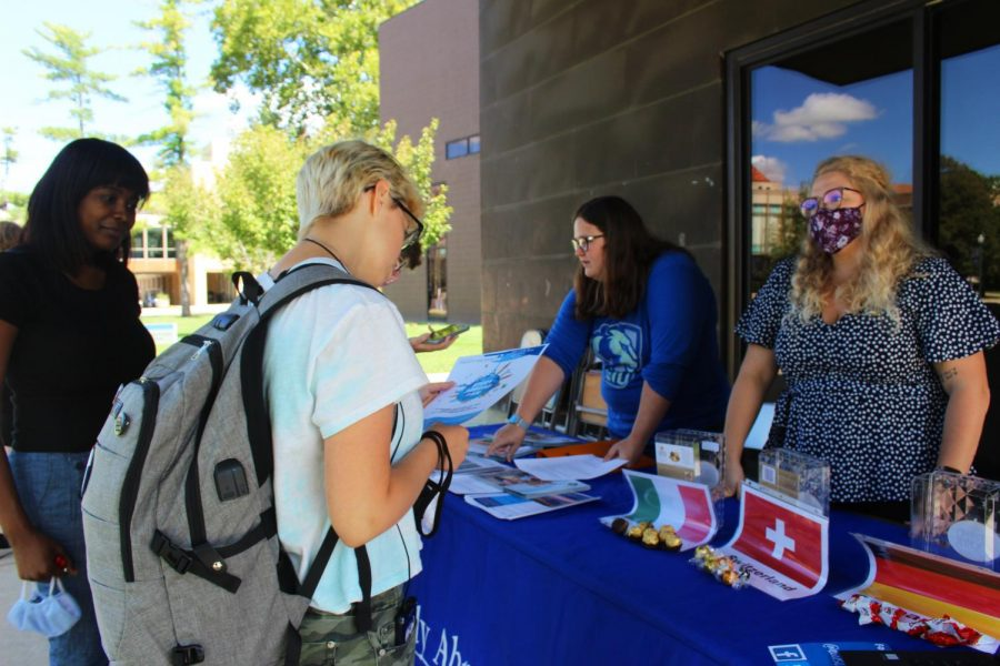 The Study Abroad Program sets up an info table for students to learn more about studying abroad. They offered chocolate from different countries that are available to study abroad at.