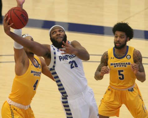 Eastern forward Sammy Friday IV attempts a layup agaisnt Morehead State on Jan. 14 in Lantz Arena. Eastern lost that game 87-61.