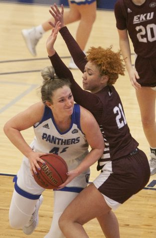 Eastern forward Abby Wahl pushes through a defender in a game against Eastern Kentucky on Jan. 16.