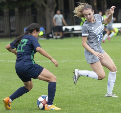 Eastern defender Morgan Rinker positions herself in front of a Chicago State player in a 1-0 Eastern win on Sept. 3 at Lakeside Field.