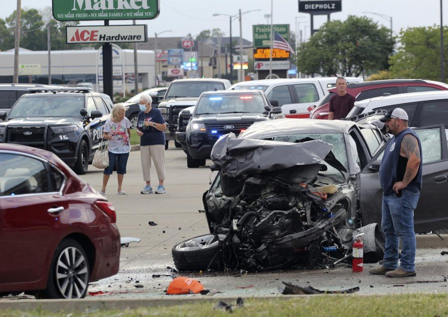 Debris from the deceased man's car who drove into oncoming traffic causing the five-car accident at the intersection of Lincoln Avenue and University Drive on Sept. 19, 2021.